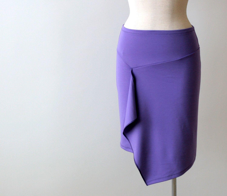Asymmetric tulip wrap skirt. Winter jersey skirt. Knee length pencil skirt. Women skirt.. $75,00, via Etsy.
