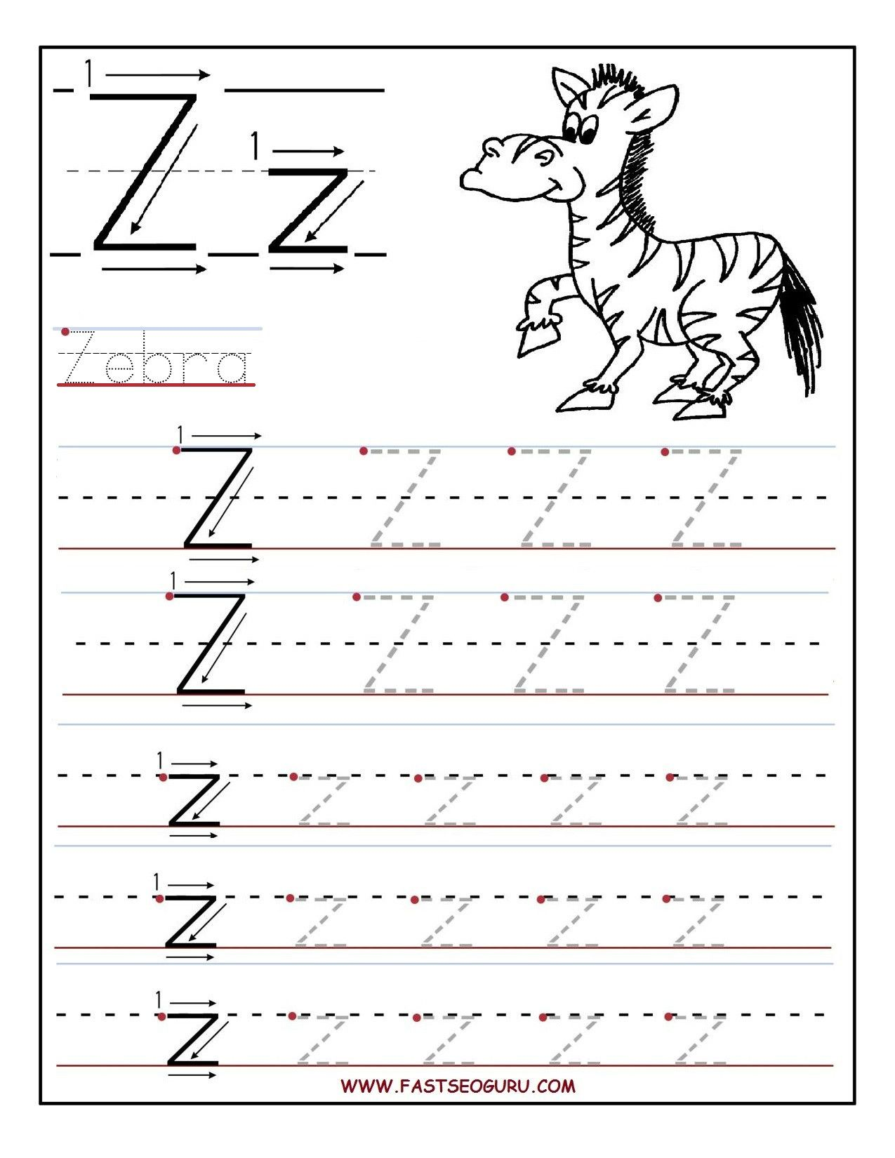 Letter Tracing Worksheets Az In