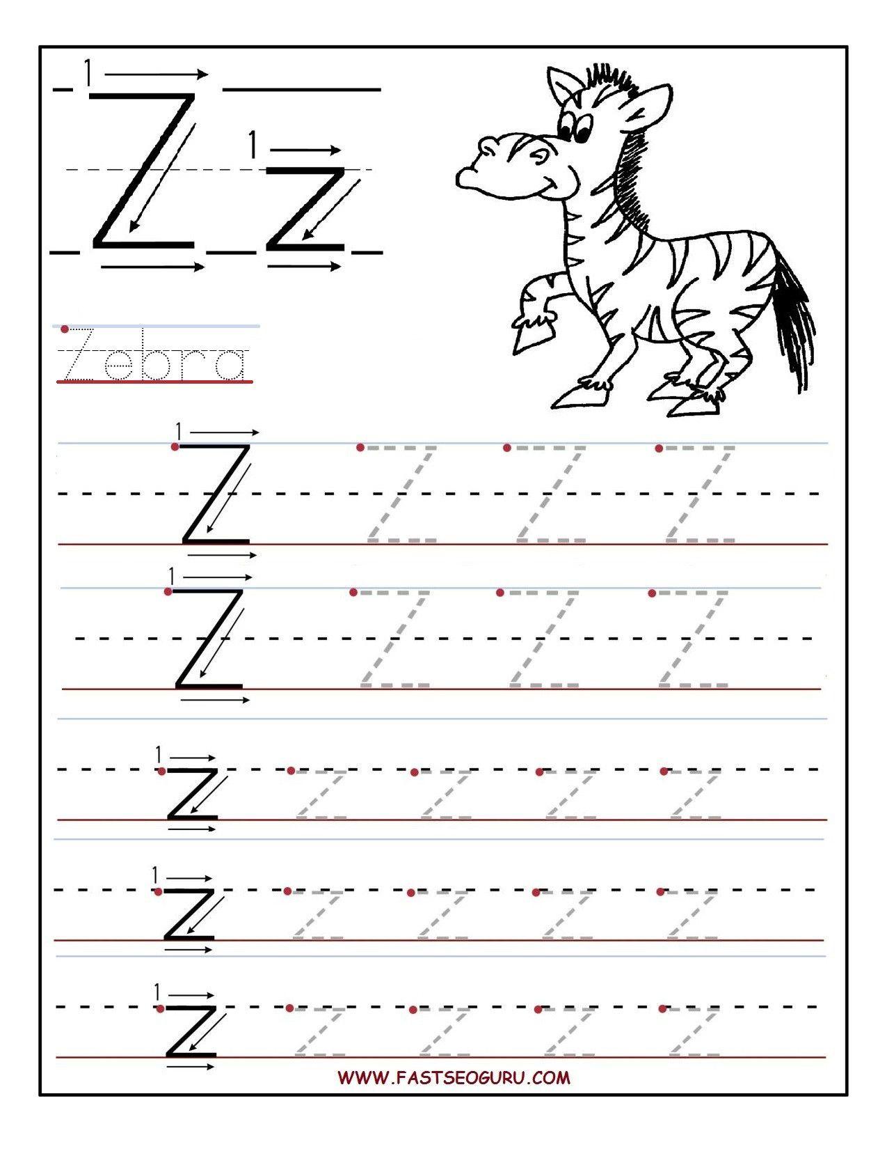 Letter Tracing Worksheets Az In