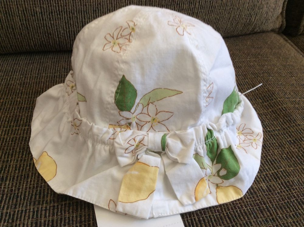 9b508f17 New Gymboree Baby Girl Toddler Sun Hat Size 12-18 Months White Yellow  Lemons Bow