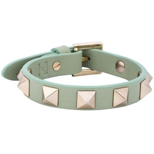 Valentino Garavani 'Rockstud' bracelet ($140) ❤ liked on Polyvore featuring jewelry, bracelets, green, green jewelry and valentino jewelry