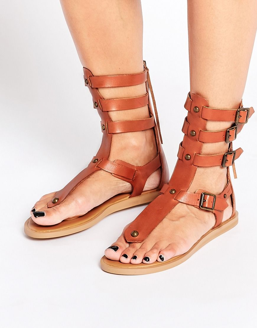 Buy Women Shoes / Aldo Livy Tan Leather Gladiator Flat Sandals