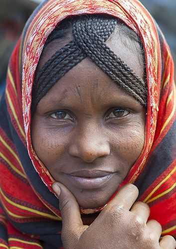 Afar Tribe Woman With Scarifications On Her Face, Assaita, Afar Regional State, Ethiopia | by Eric Lafforgue
