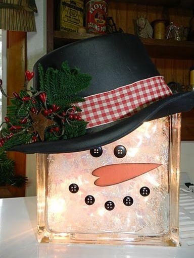 Glass block snowman navidad Pinterest Navidad, Bloques y