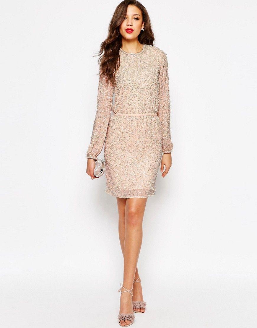 TALL Premium Pearl Cluster Long Sleeve Mini Dress - ASOS- Dresses ...