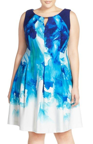 Gabby Skye Keyhole Detail Print Scuba Fit & Flare Dress (Plus Size) available at #Nordstrom
