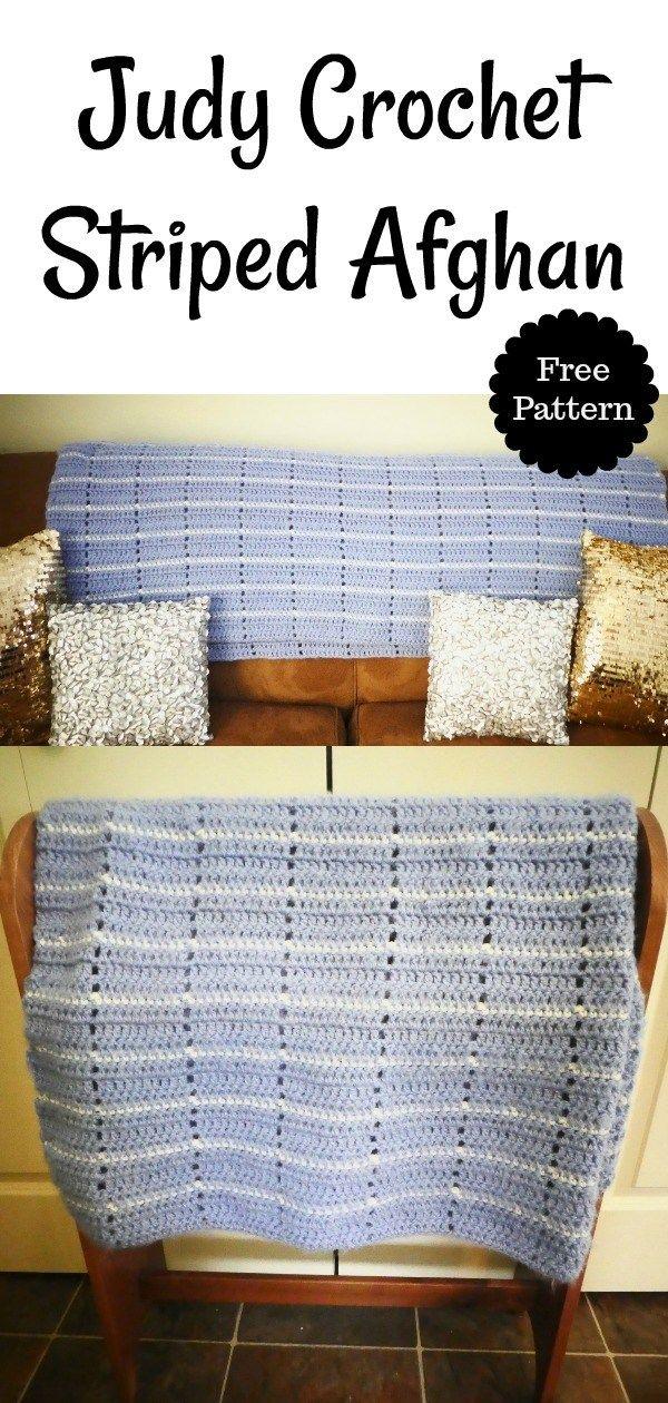 Judy Crochet Striped Afghan Blanket - | Crochet!!!! | Pinterest ...