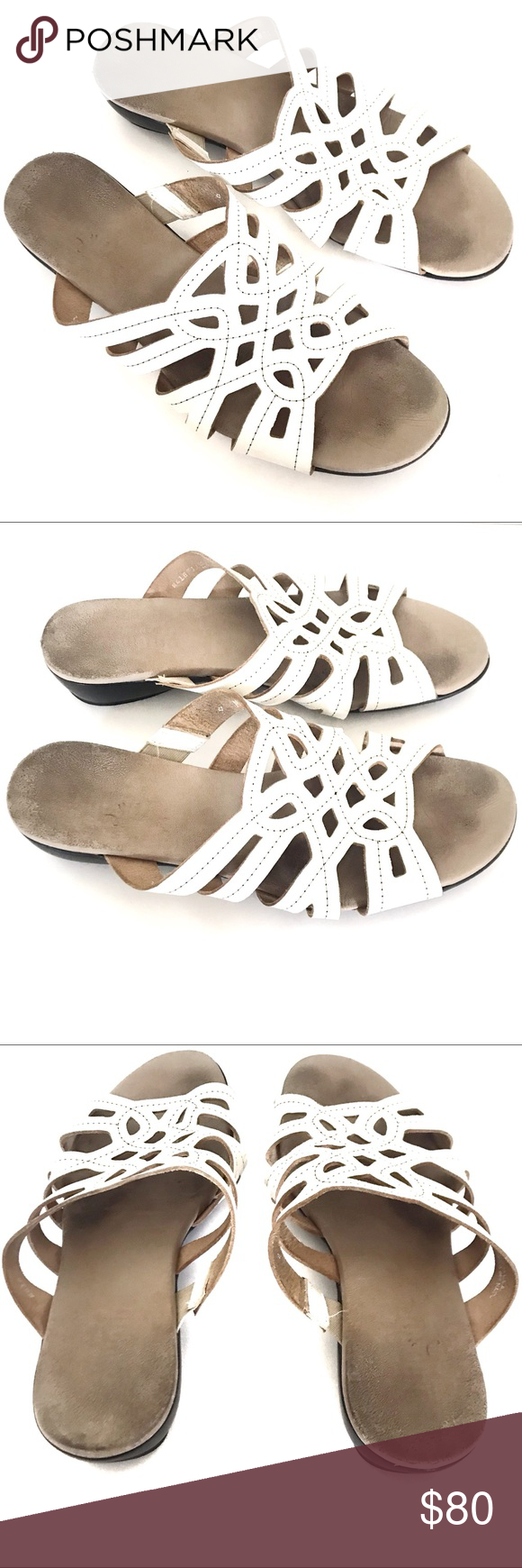 MUNRO Leather Perforated White Slide Sandal Size 9 Get your