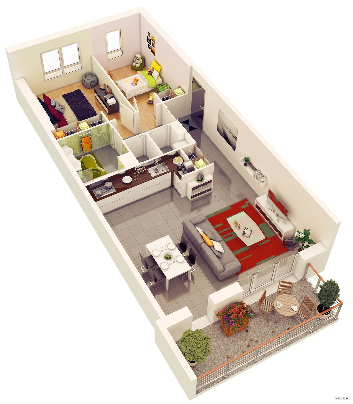 25 More 2 Bedroom 3D Floor Plans Planimetrie di case