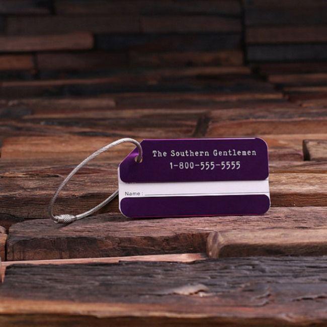Purple Personalized ID Luggage Tag