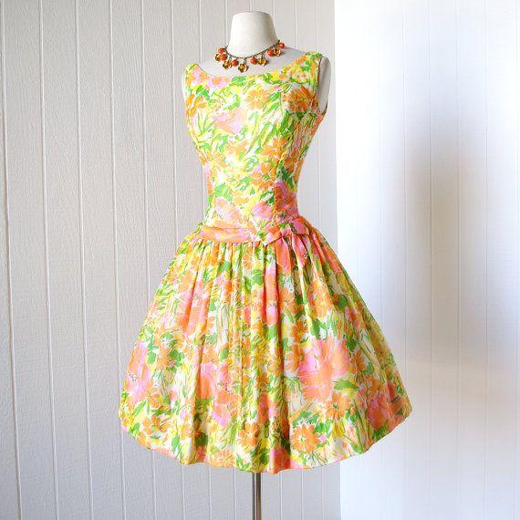 vintage 1960's dress fun and flirty FLORAL CHIFFON by traven7, $140.00