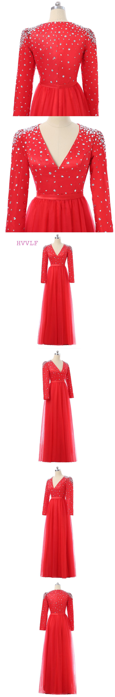 Red celebrity dresses aline vneck long sleeves tulle beaded