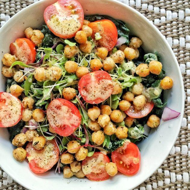 Kale Salad with Roasted Chickpeas, Veggies, and a Mustard & Apple Cider Vinaigrette   - salads. -