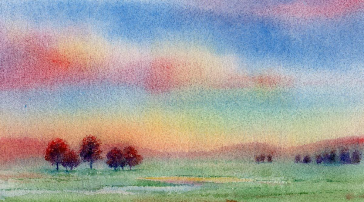 Landscapes paintings in watercolors google search for Easy watercolor for beginners
