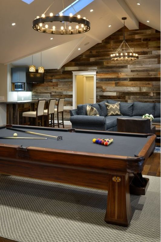 Bon Basement Game Room With Pool Table