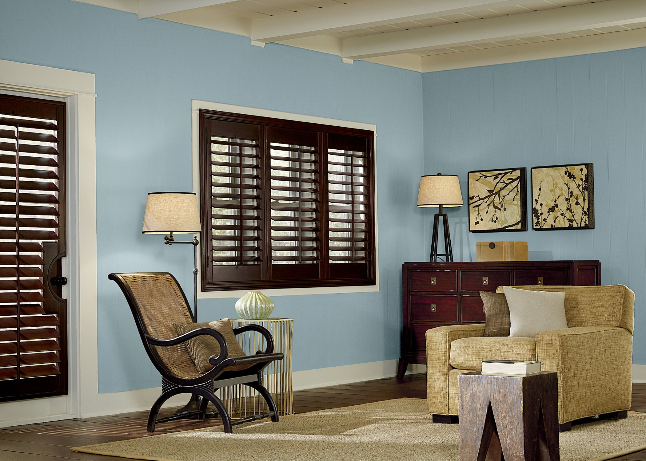 Graber 3 panel wood shutters with french door shutters