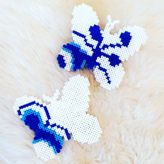 Hama butterflies with Royal Copenhagen logo. Made by me Nathalie Ahrenst