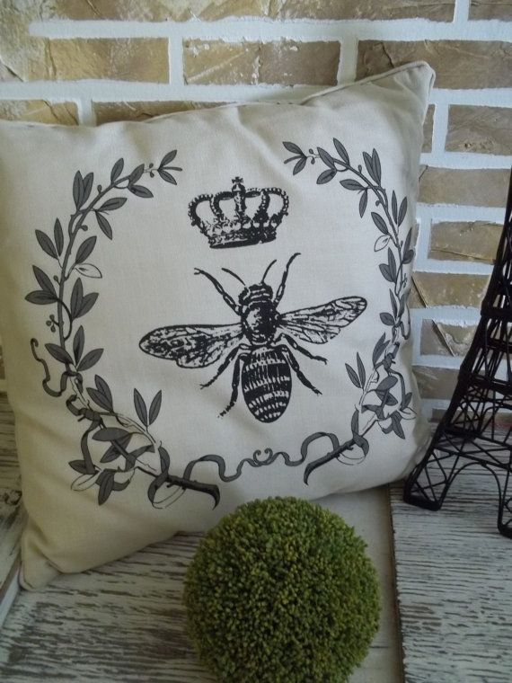 Royal French Bee Crown Wreath Pillow By SimplyFrenchMarket 3200