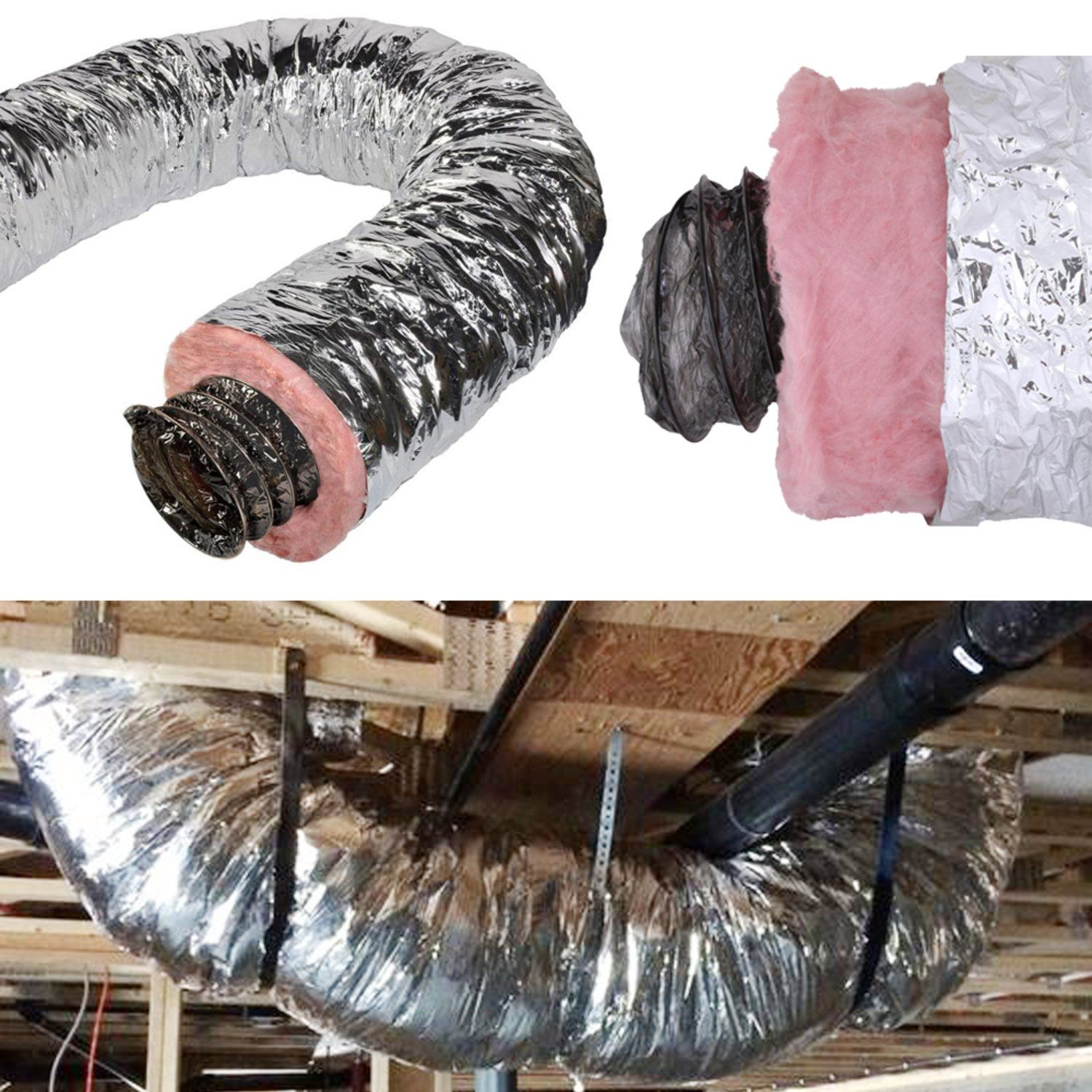 Details about 4 6 10 12 14 16 18 Inch Insulated Flex Duct