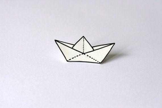 White Plastic Paper Boat Brooch By VoodoooChild On Etsy 600