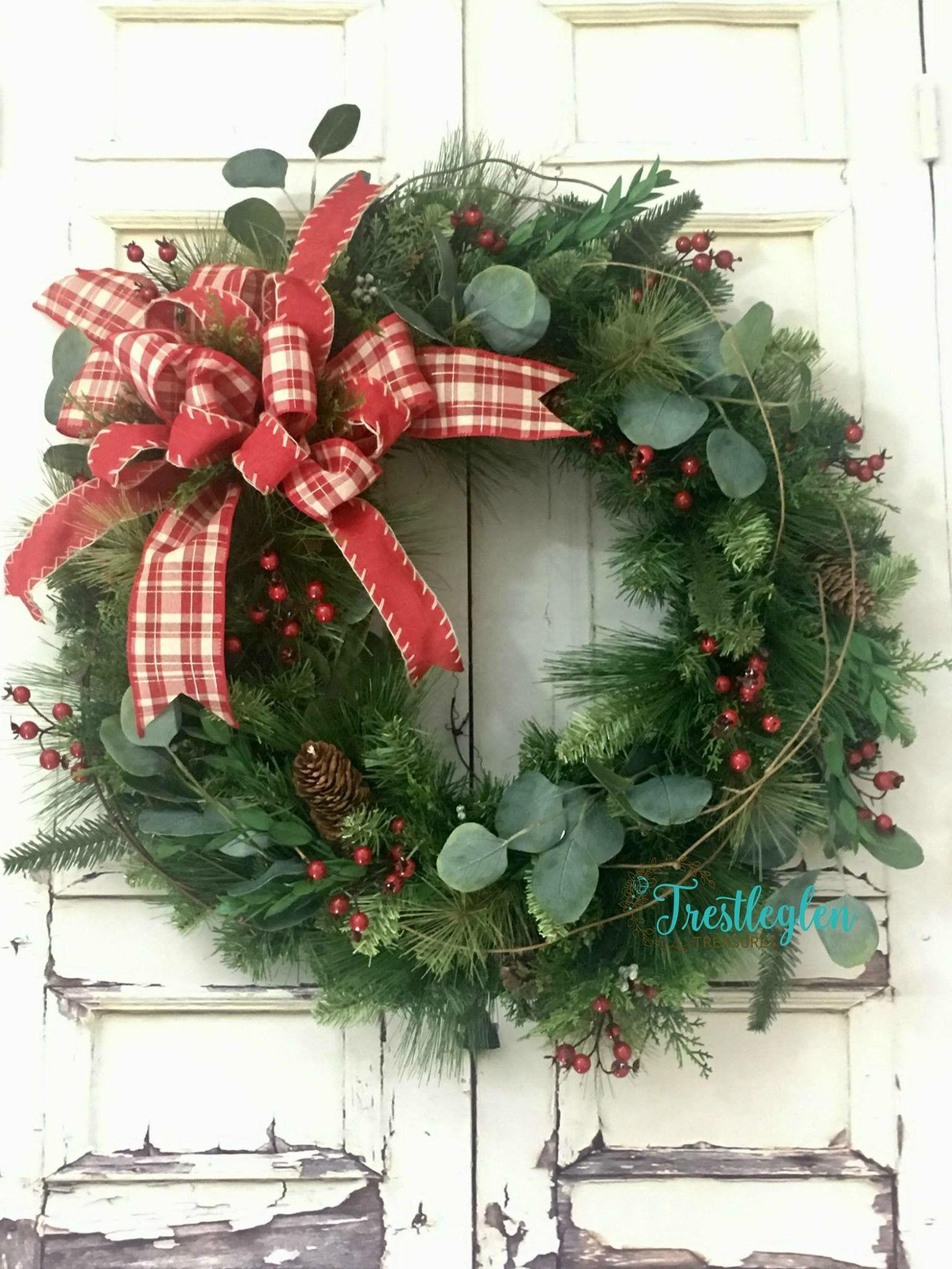Farmhouse Christmas Wreath Christmas Wreaths For Front Door