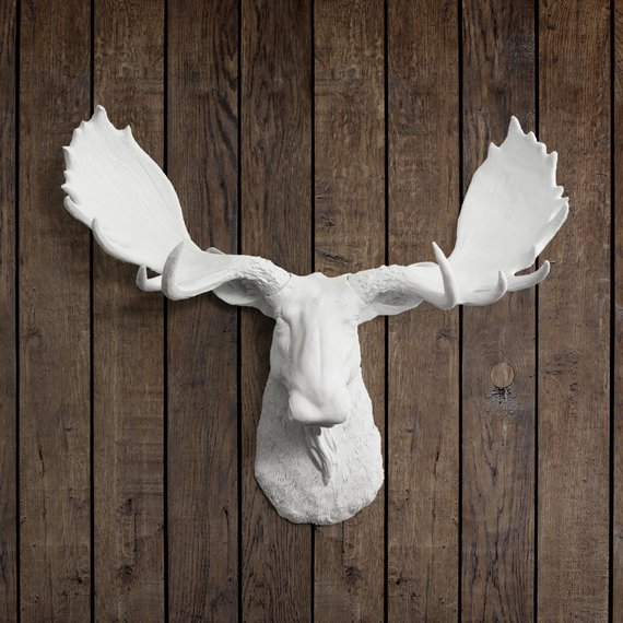 The Alberta White Faux Moose Head Wall Mount By