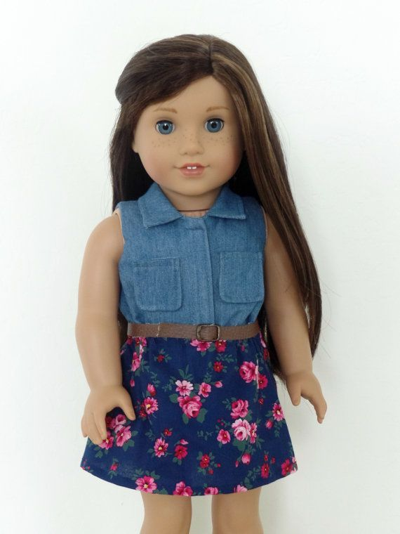 Denim and Floral Dress for American Girl Dolls The bodice is made from a soft denim fabric and the skirt is made from a floral cotton fabric.  The belt completes the outfit. The listing is for the dress only. My items are made with quality fabrics and sewn professionally. The package will be shipped first class via USPS with tracking number (for USA only). #americangirldollcrafts