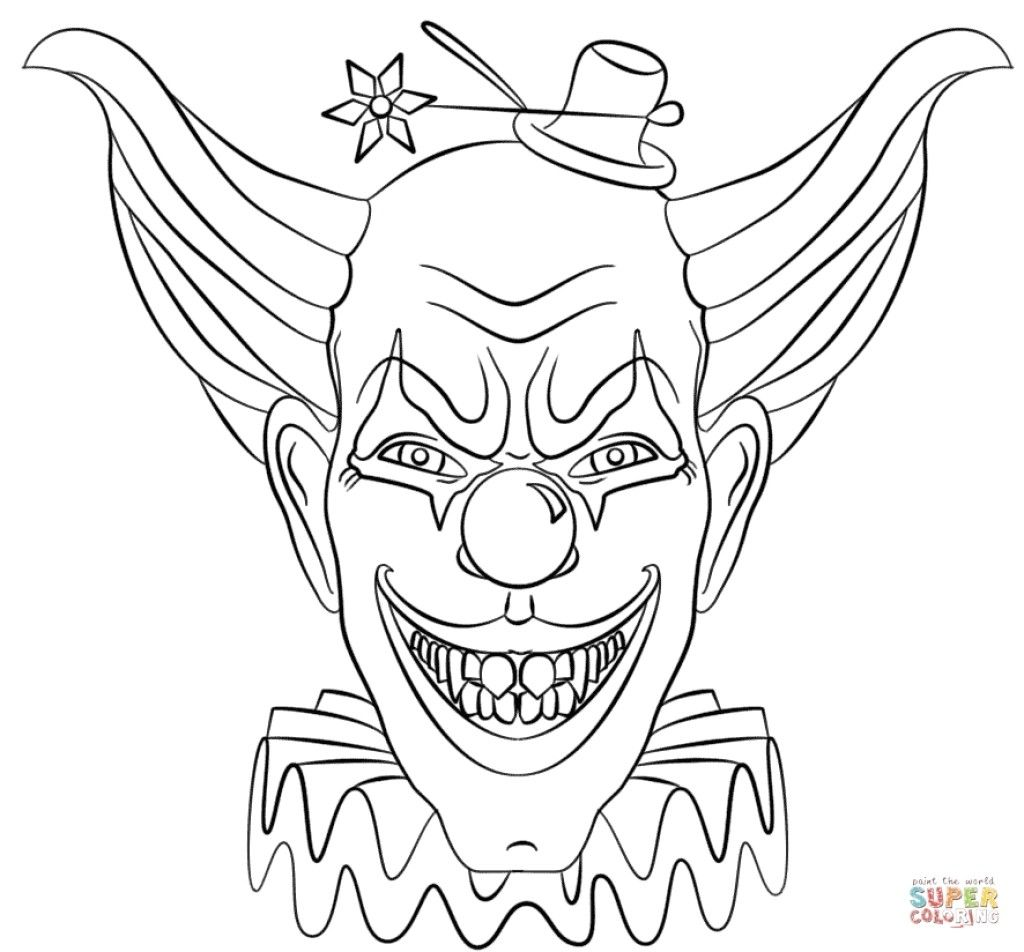 Super Scary Halloween Coloring Pages With Inspirational Clown Free Coloring Pages For Kids Scary Clown Drawing Scary Clown Face Scary Clowns