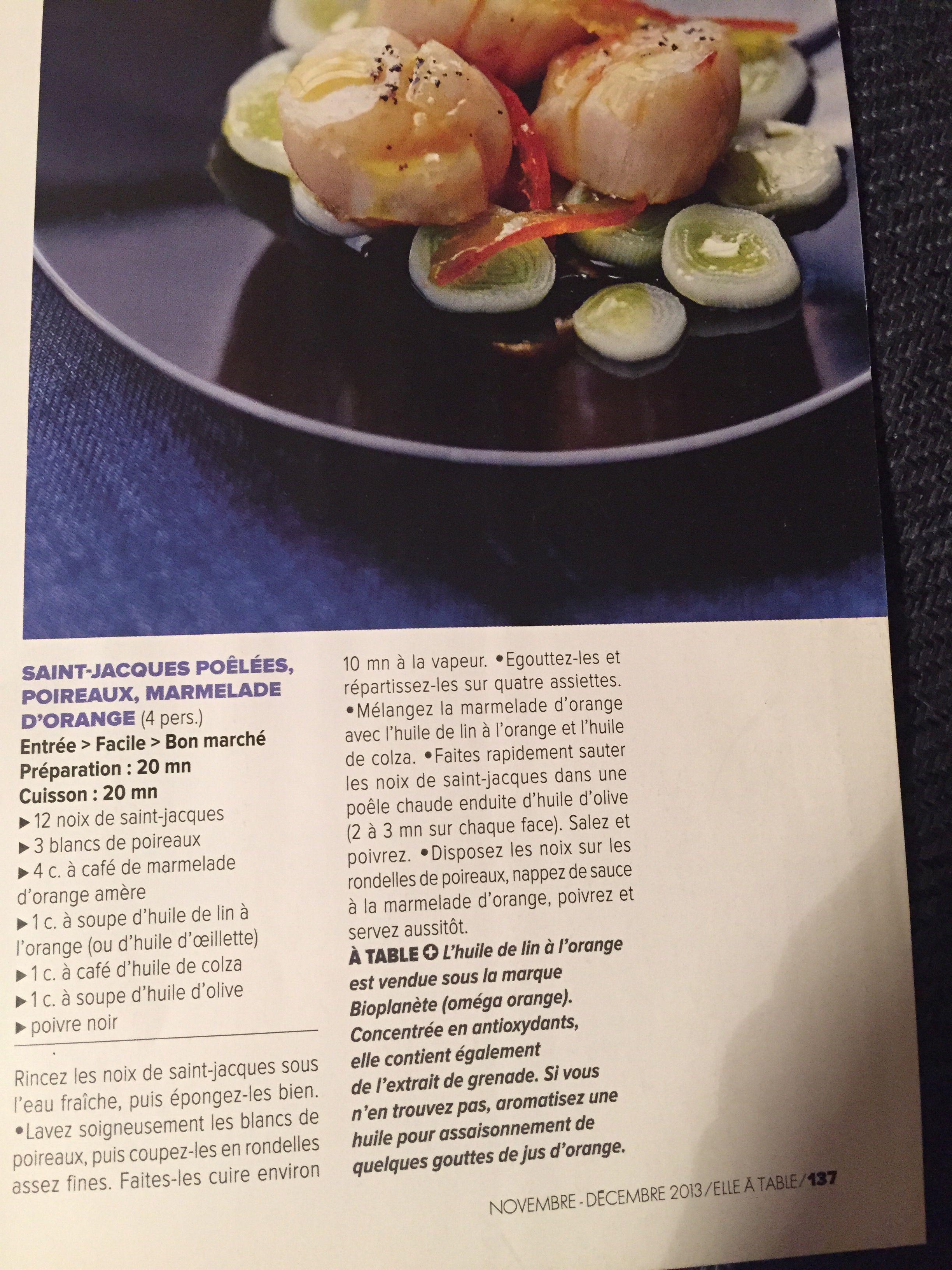 Saint-Jacques poêlées, poireaux, marmelade d orange