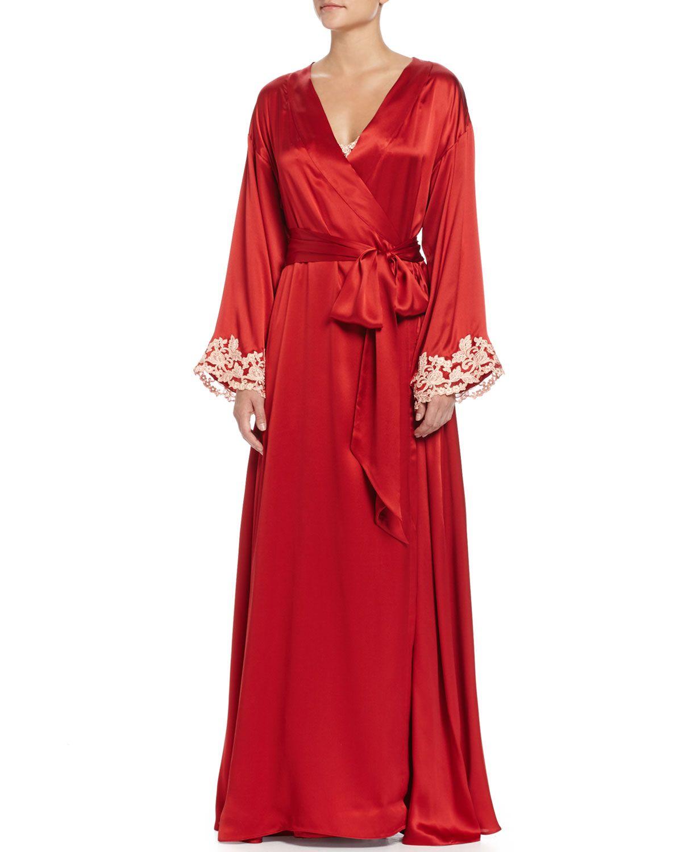 Maison Lace-Trim Long Robe, Red/Gold, Women\'s, Size: LARGE/4 - La ...