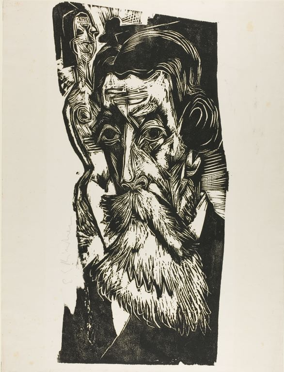 Ernst Ludwig Kirchner German, 1880-1938 Portrait of Schames, 1917 Woodcut in black on paper 565 x 260 mm (block); 580 x 440 mm (sheet) The Joseph R. Shapiro Collection, 1965.35