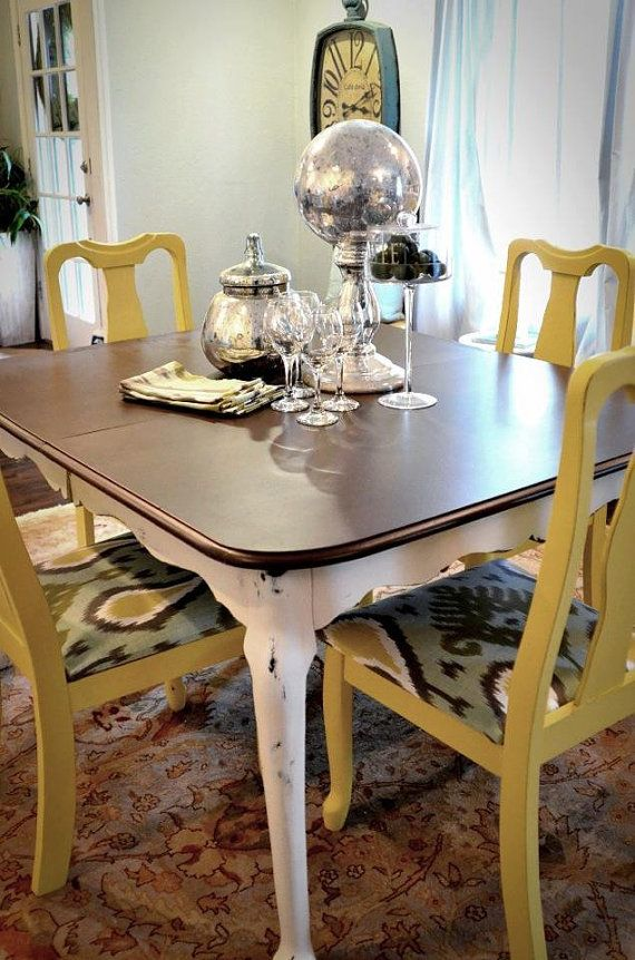High Quality Shabby Mustard Dining Table And Chairs Set By Noteworthyhome, $599.00