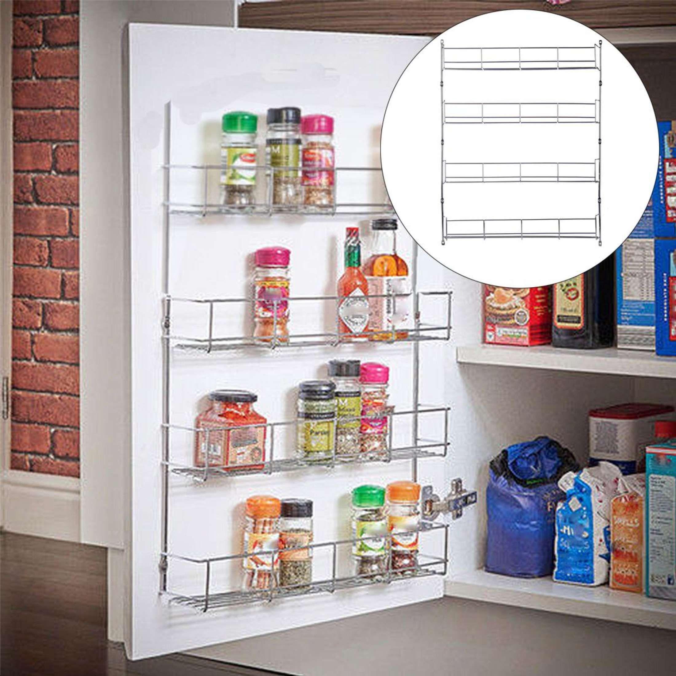 4 Tiers Kitchen Spice Rack Cabinet Organizer Wall Mount Storage