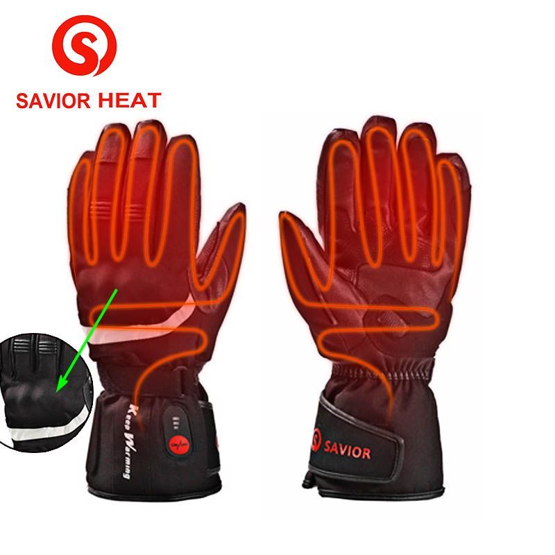 Savior Heat Motorcycle Outdoor Work Electric Heated Gloves Rechargeable Battery Hands Warmer Fishing Waterproof Riding Racing Heated Gloves Gloves Hand Warmers