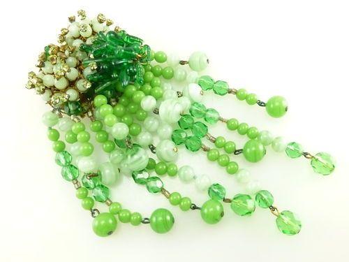 Antique Vintage Signed Miriam Haskell Dangling Green Glass Bead Brooch Pin K  pdj2011 (seller) ebay.com