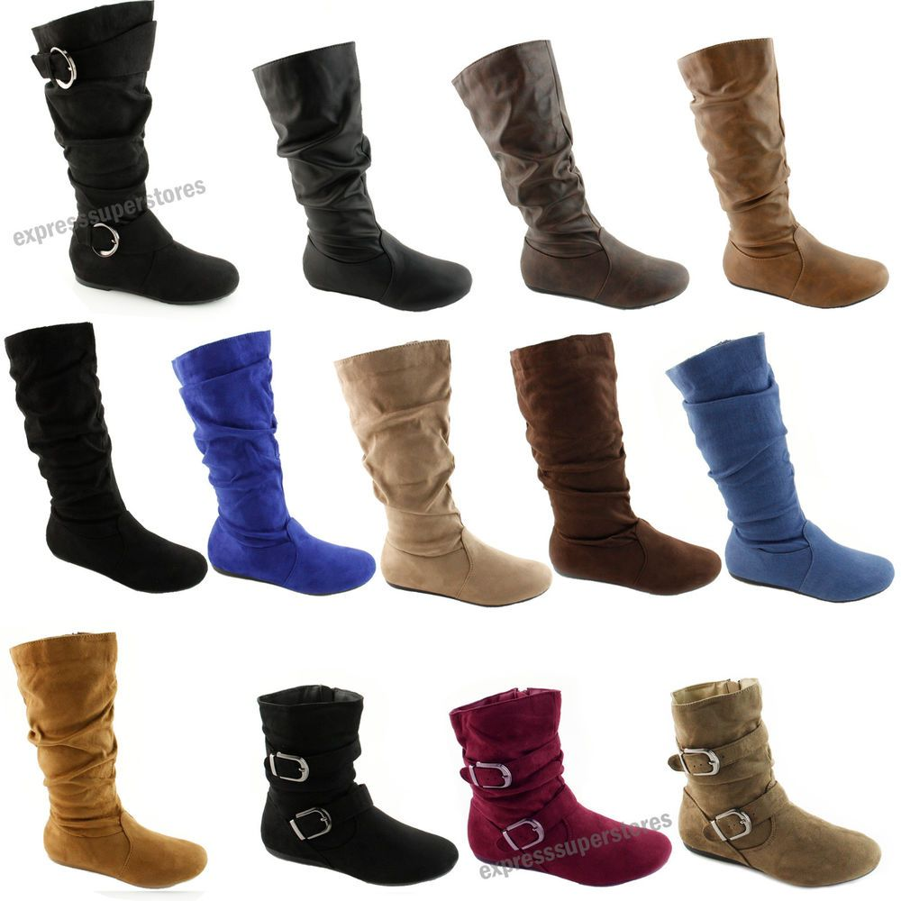 e41a6203a7b8 Women s Boots Slouch Below The Knee High New Faux Suede Flat Heels Booties  Size  Unbranded  SlouchBoots  Casual