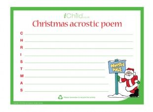 This printable acrostic poem template can be used to encourage this printable acrostic poem template can be used to encourage your child to write a festive pronofoot35fo Choice Image