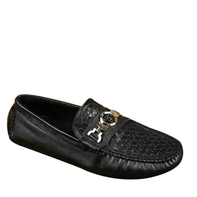 US Size 512 Black White Leather Mens Slip On Dress Suit Loafers Metal Toe Shoes  DLYDZ806N