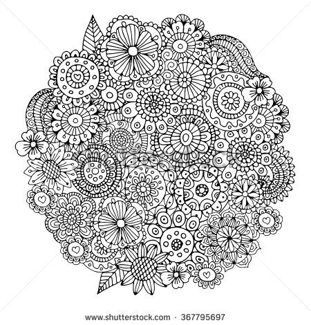 Flowers Circle Zentangle Pattern For Coloring Book