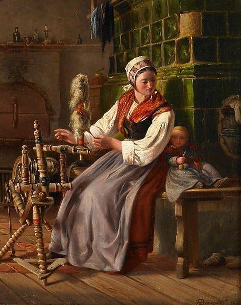 Spinning flax by the tile stove, woman and child Mutter mit Kind am Spinnrad vor dem Kachelofen. Unten rechts: LIgatur HBayer 1863 (?). Öl auf Leinwand. 36 x 29,5cm