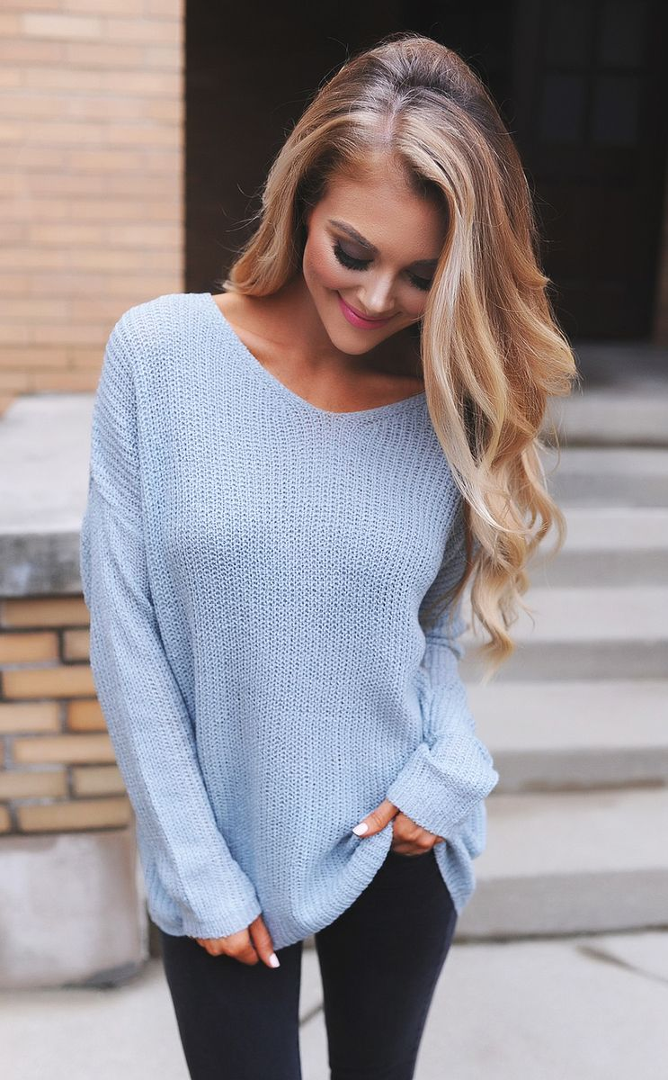 what to wear with a light blue sweater