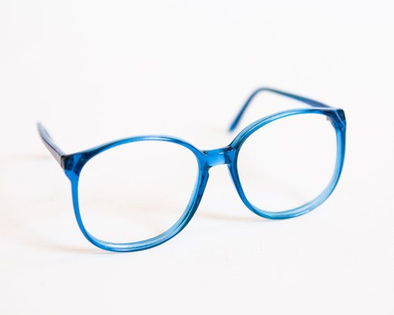 0b900e0ae7 Super cute bright blue transparent plastic eyeglass frames with a great over-sized  round shape. Made in Israel ln the 1970s or 8os.