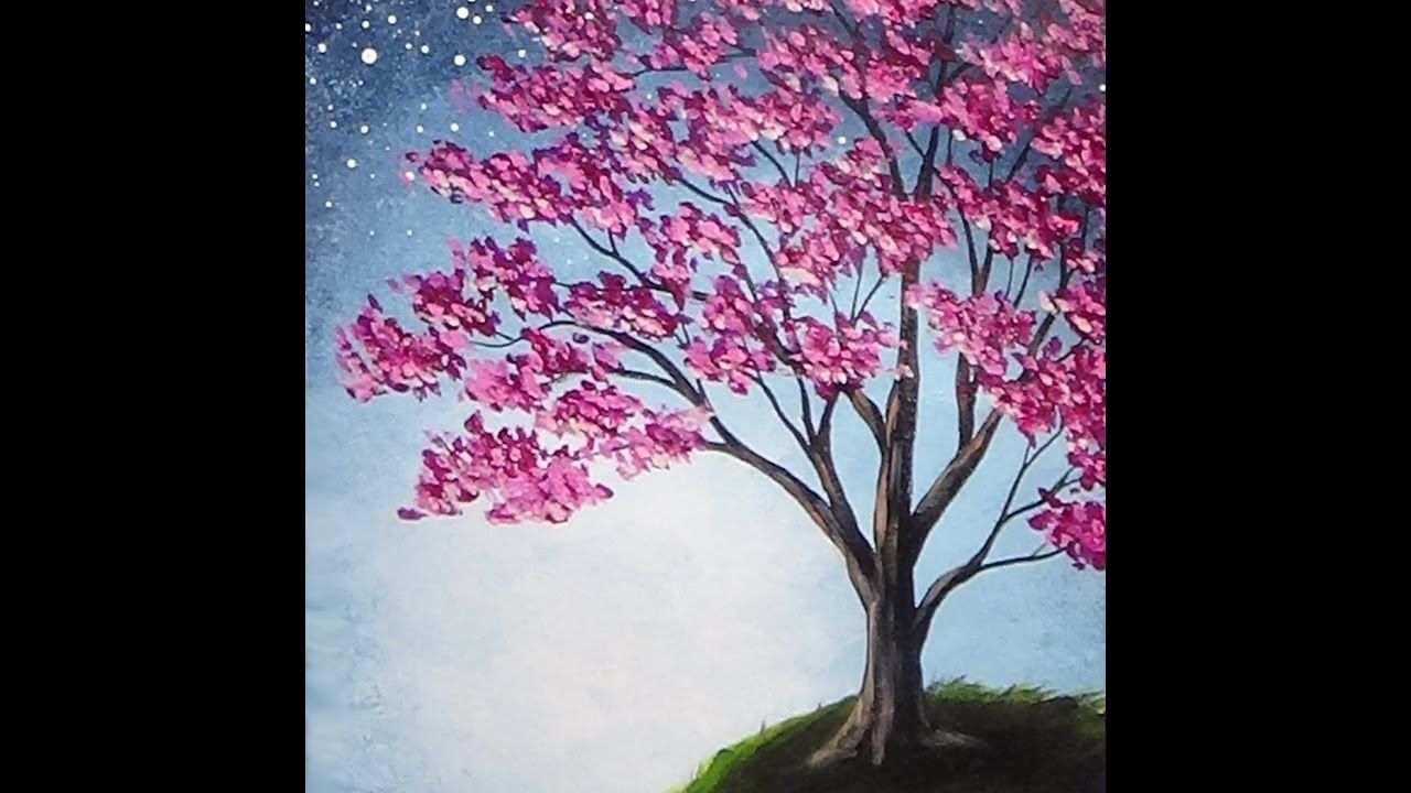 Blossoming Tree Acrylic Painting With Sponge Painted Background Tutorial Cherry Blossom Painting Tree Painting Easy Tree Painting