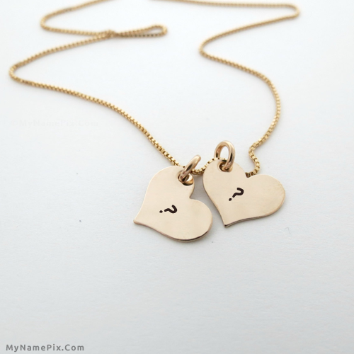 c9981cd5fc Write your name on Couple Hearts Necklace picture in beautiful style. Best  app to write names on beautiful collection of Alphabets pix.