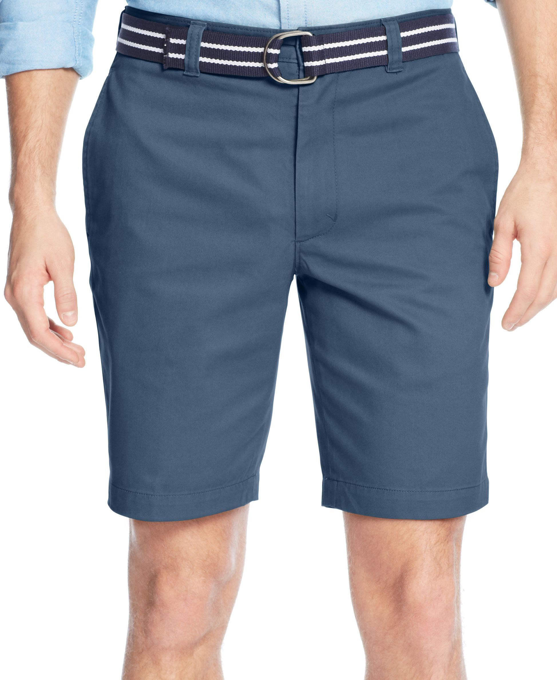 Club Room Belted Flat-Front Shorts