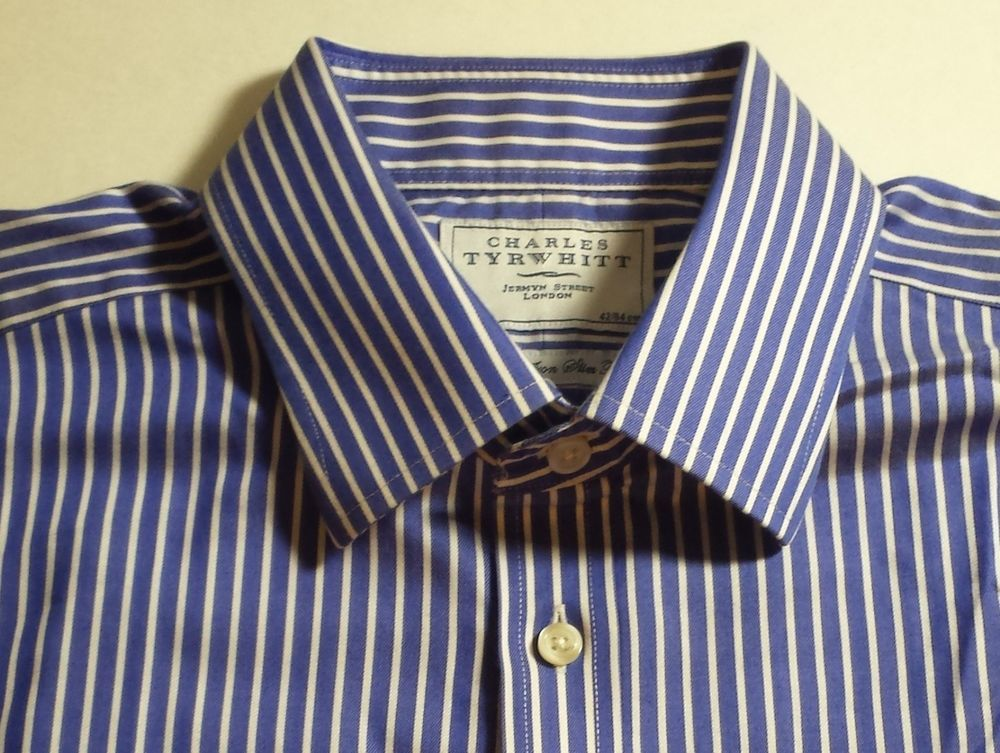 Charles Tyrwhitt Jermyn Street London striped Dress shirt cotton size 16 1/2 33 #Tyrwhitt