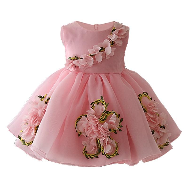 Kids Flower Dress In Sashes for Wedding Birthday Party Girls Floral Print Dress
