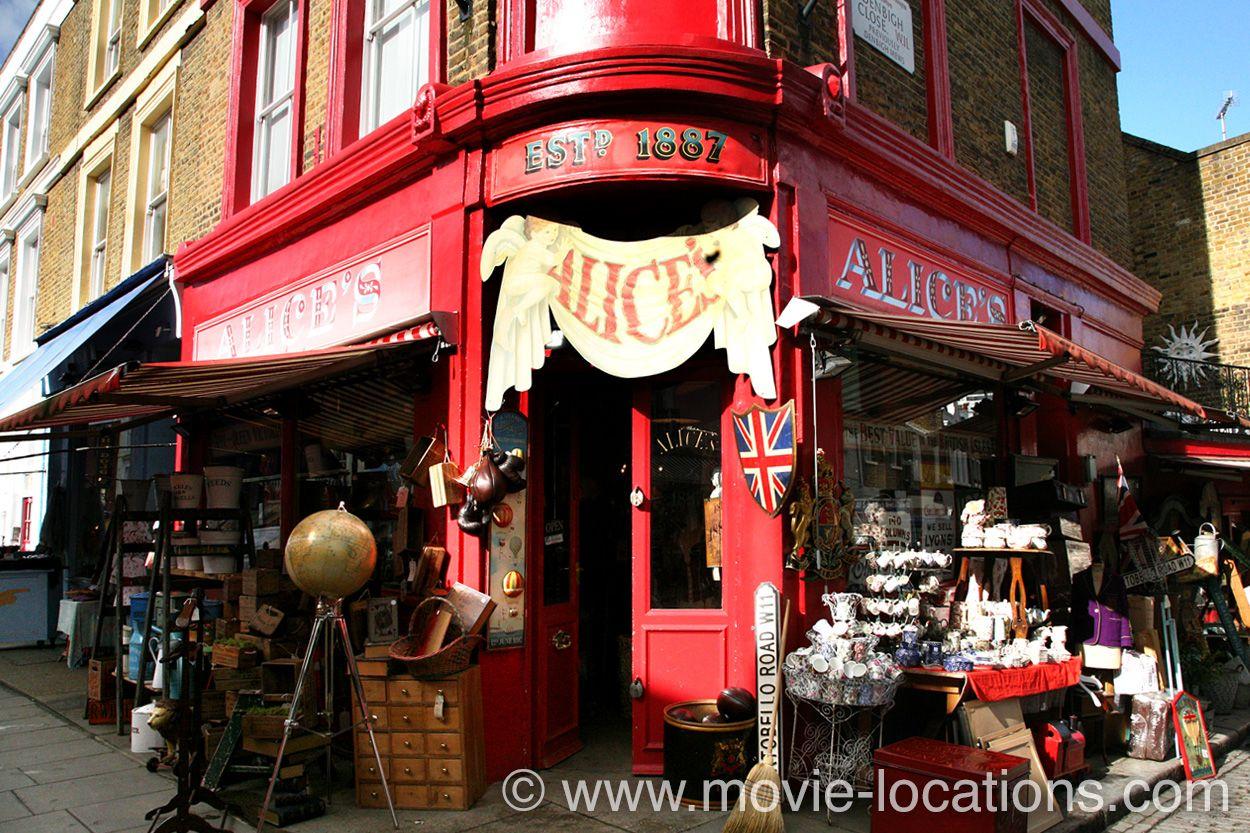 Paddington film location: Alice's Antiques, 86 Portobello Road, Notting Hill, London W11. The Portobello Road antique shop belonging Mr Gruber (Jim Broadbent) is Alice's Antiques, a longstanding institution of the famous street market. http://www.movie-locations.com/movies/p/Paddington.html