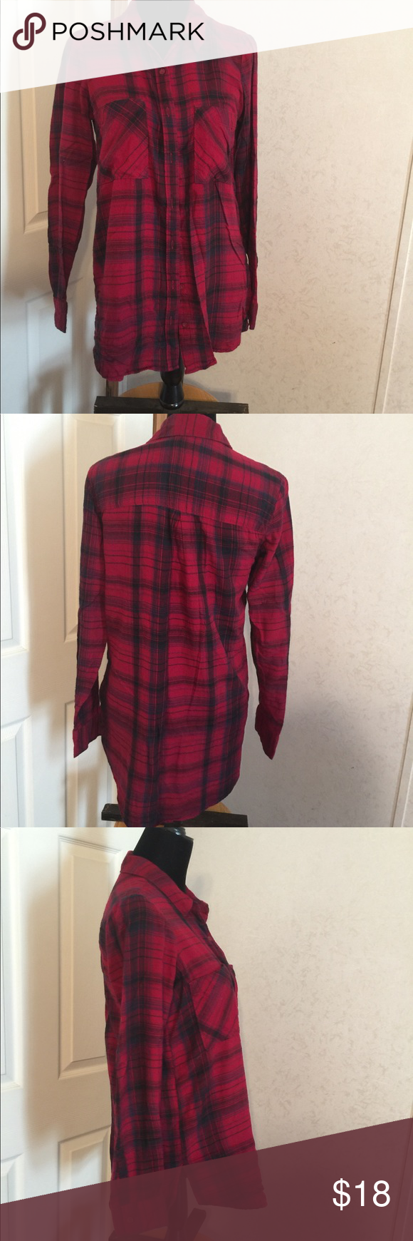 Flannel shirt season  Mudd Red Flannel Shirt Size Medium  Red flannel shirt Red flannel
