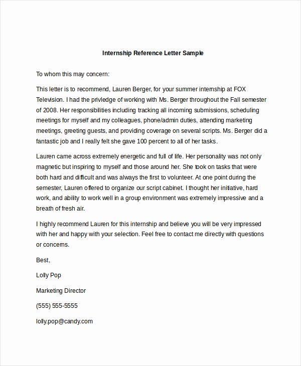 internship recommendation letter sample unique sample